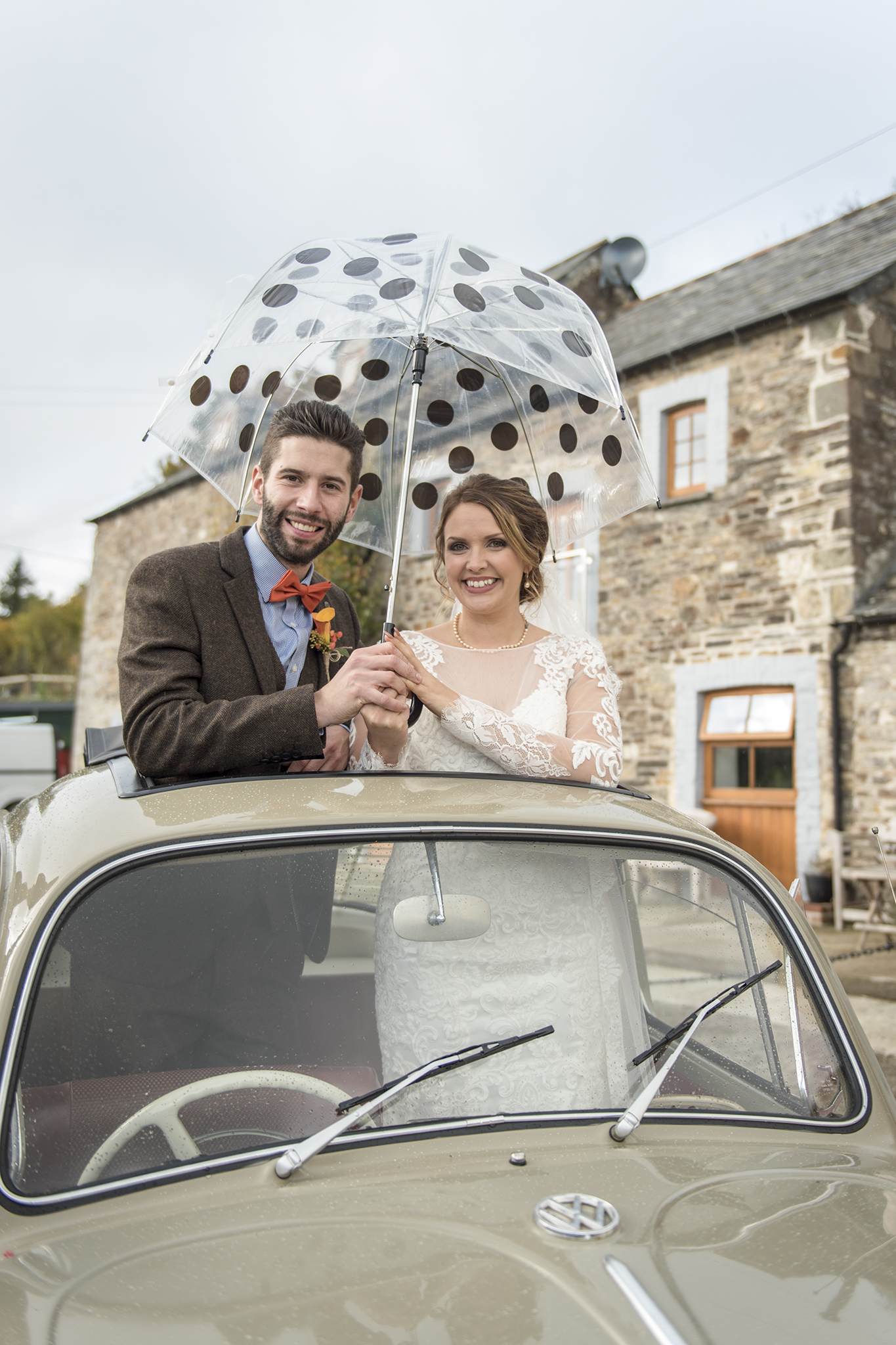 Rainy wedding Cornwall